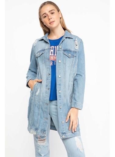 DeFacto Yırtık Detaylı Uzun Denim Ceket Mavi